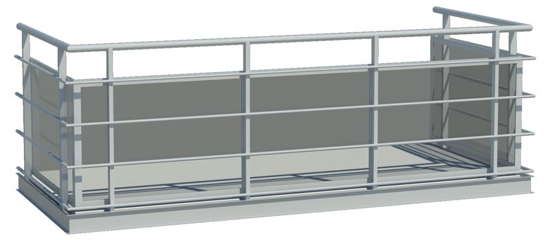 Designat balkongräcke med framkantsbalk