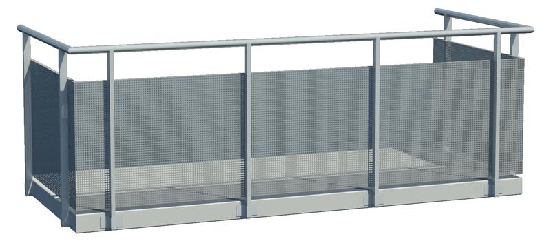 Designat balkongräcke med invändig perforerad plåt