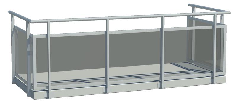 Designat balkongräcke med invändigt glas
