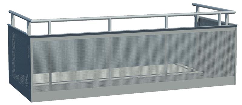 Designat balkongräcke med utvändig perforerad plåt