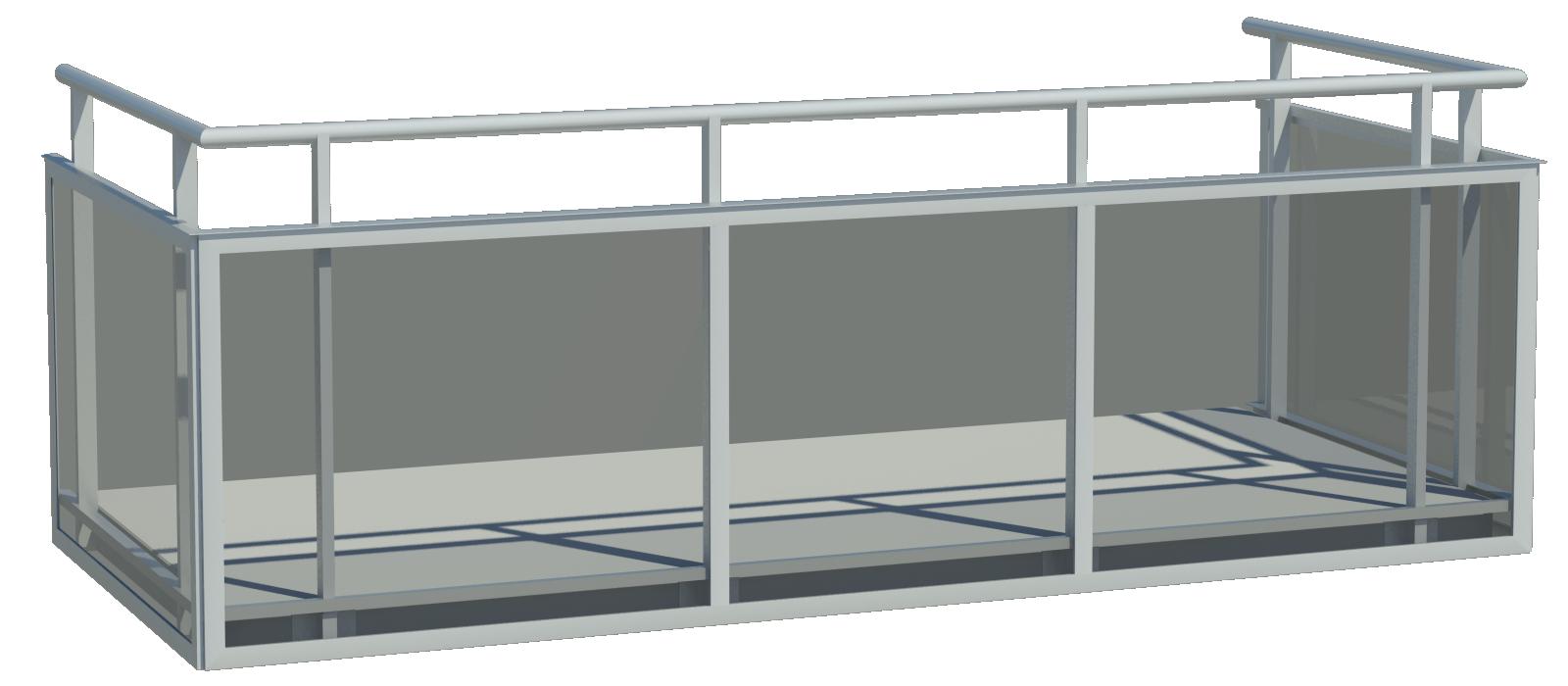 Designat balkongräcke med utvändigt glas